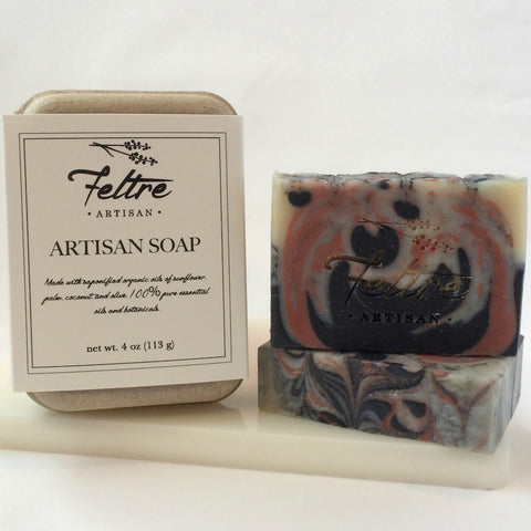 Rose Clay, Coconut Milk and Charcoal Soap with Anise Essential Oil - Vegan, Made with Organic Oils