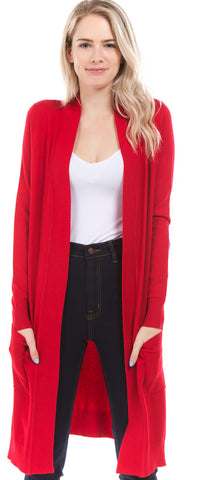 Red Long Pocket Cardigan(S-XL)