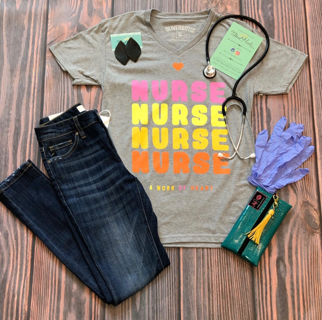Nurse A Work of Heart Graphic Tee in Grey (S-2XL)