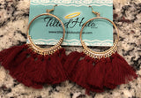 Large Hoop Tassel Earrings