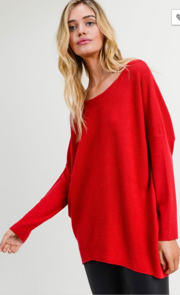 Red Criss Cross Tunic Sweater