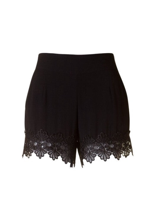 Black Hampton Lace Shorts - Tilted Halo Boutique - 1