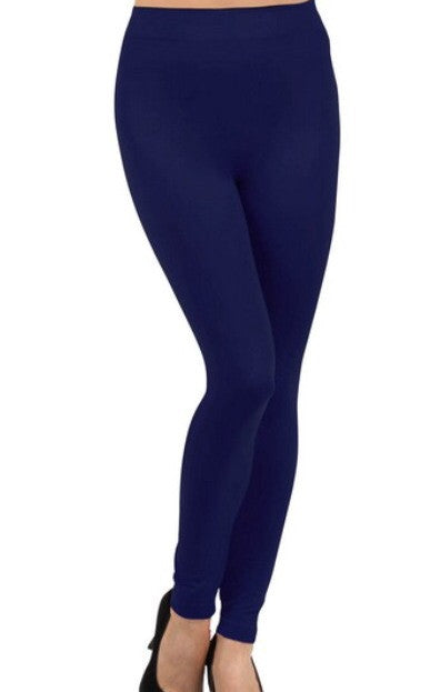Fleece Lined Seamless Leggings in Navy - Tilted Halo Boutique