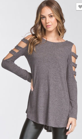 Katy Open Shoulder Long Sleeve Top-Charcoal