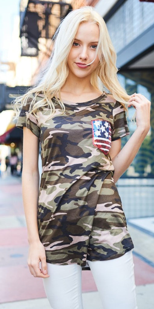 Camo and Sequin American Flag Top