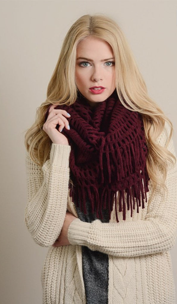 Chenille Tassel Infinity Scarf - Tilted Halo Boutique - 1