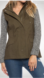 Olive Utility Jacket with Knit Sleeves