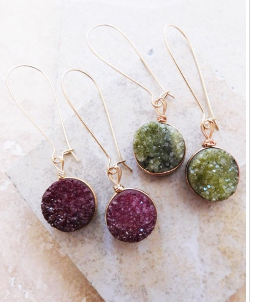 Druzy Drop Earrings-Burgundy