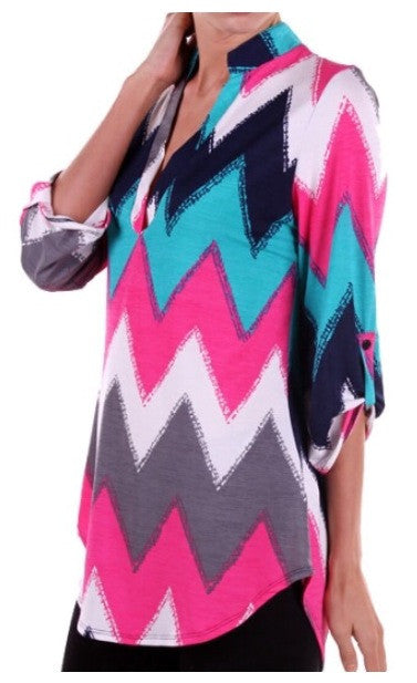 Teal and Pink Chevron Top Plus Size(XL-3XL) - Tilted Halo Boutique - 1