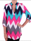Teal and Pink Chevron Top Plus Size(XL-3XL) - Tilted Halo Boutique - 2