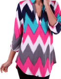 Teal and Pink Chevron Top Plus Size(XL-3XL) - Tilted Halo Boutique - 3