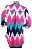 Teal and Pink Chevron Top Plus Size(XL-3XL) - Tilted Halo Boutique - 4