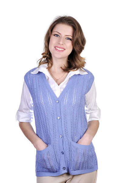 Chic sleeveless summer cardigan, in 2 classy colors.