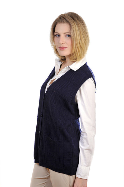 Cooper women's sleeveless cardigan, in classic navy.