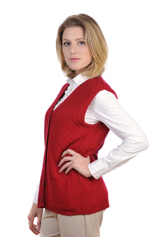 Exquisitely textured sleeveless Cooper women's cardigan with pockets.
