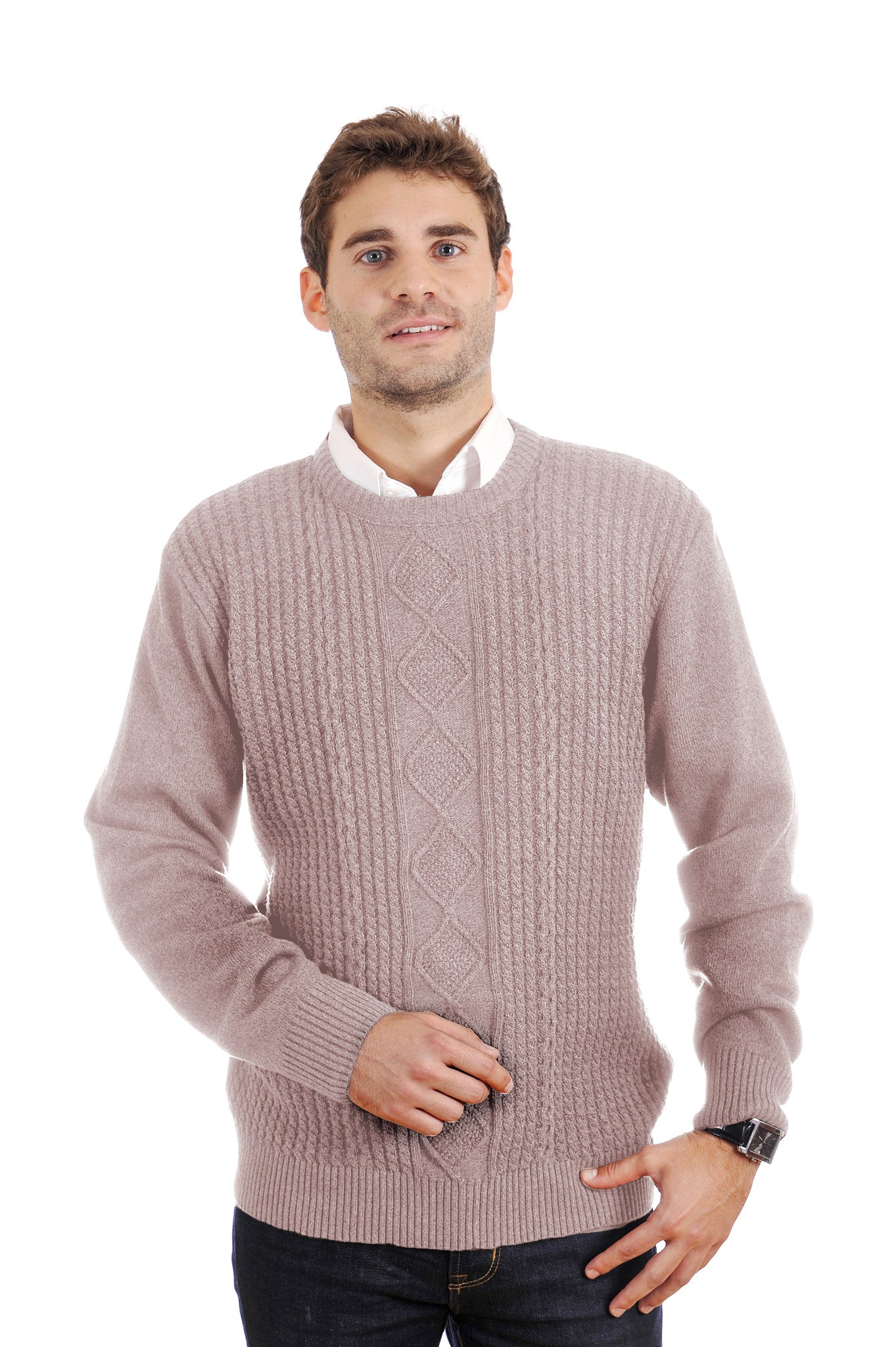 Handsome, richly textured Tosani crew neck sweater. Pure cotton.
