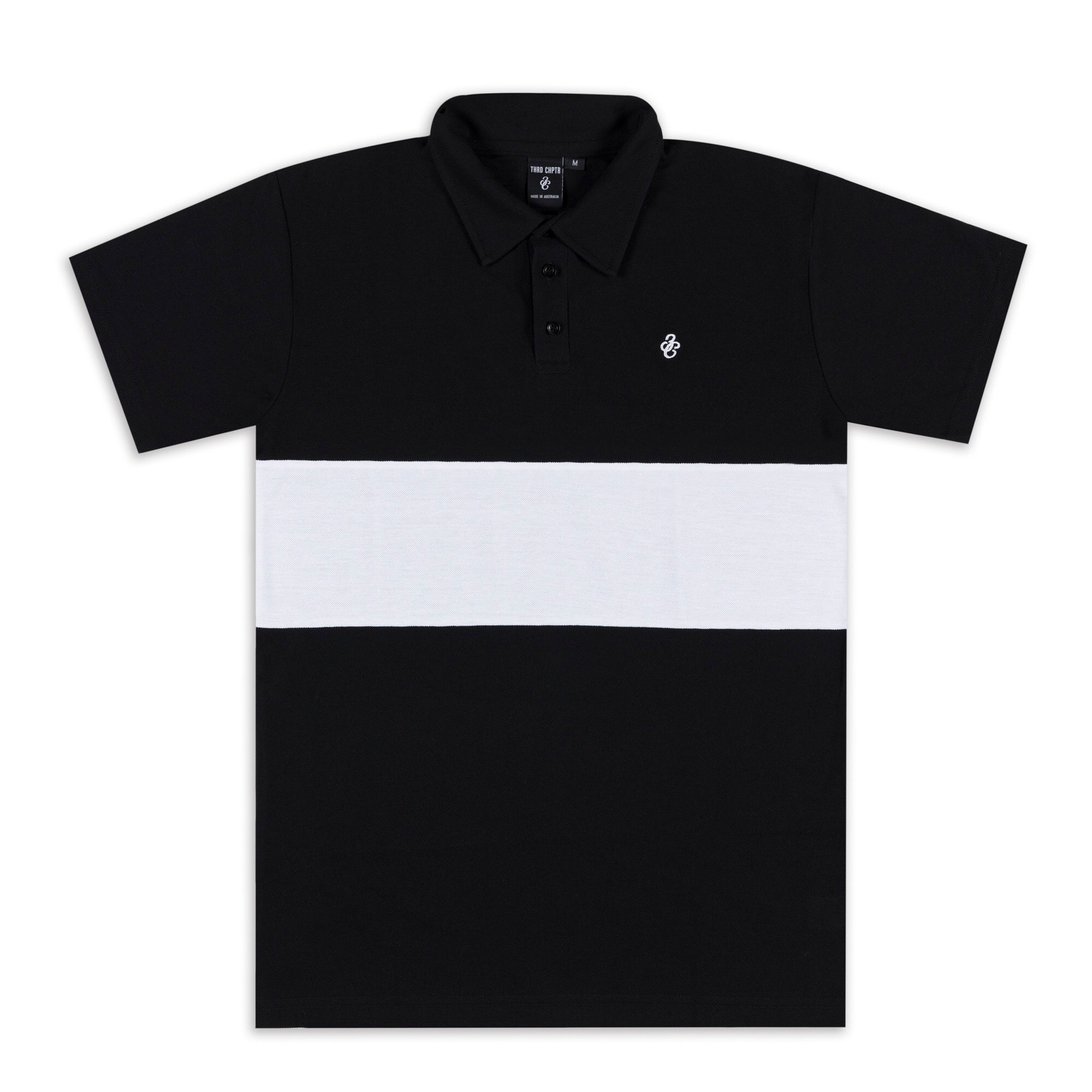 3C Short Sleeve Polo Black/White
