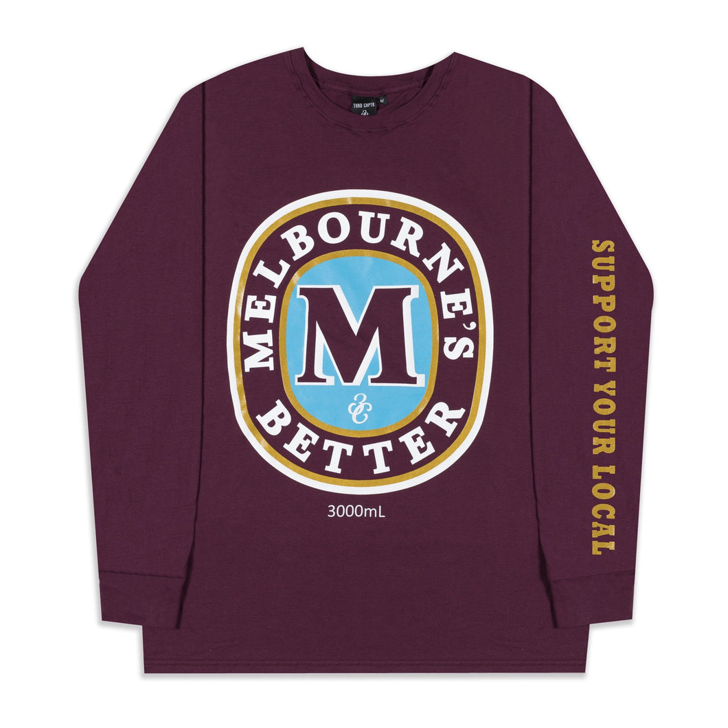 Melbourne's better Longy Sleeve T-Shirt Maroon