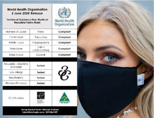 Load image into Gallery viewer, 3-Layer Fabric Face Mask ADULT SIZE ONLY PACK (10 Pack Option or More) - World Health Organisation Compliant