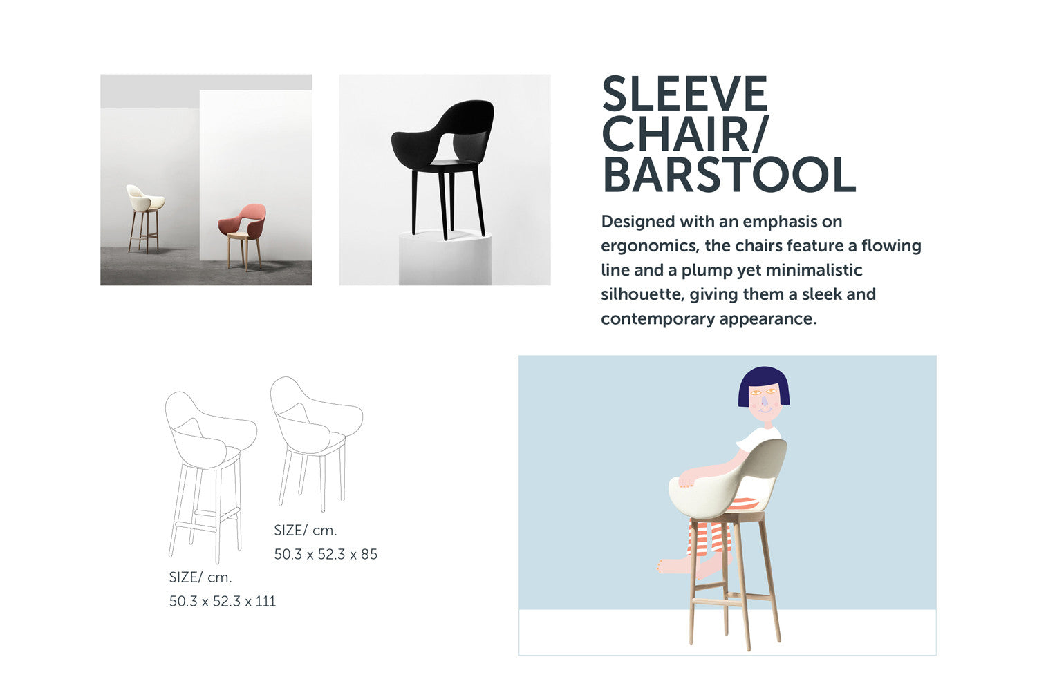 Sleeve Chair and Barstool from Stretch Your Mind furniture collection by ziinlife