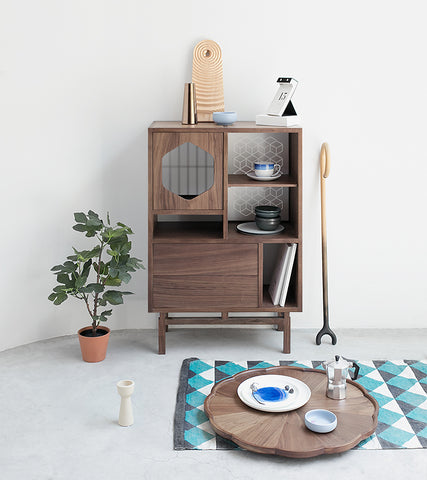 ziinlife furniture enlight cabinet walnut wood