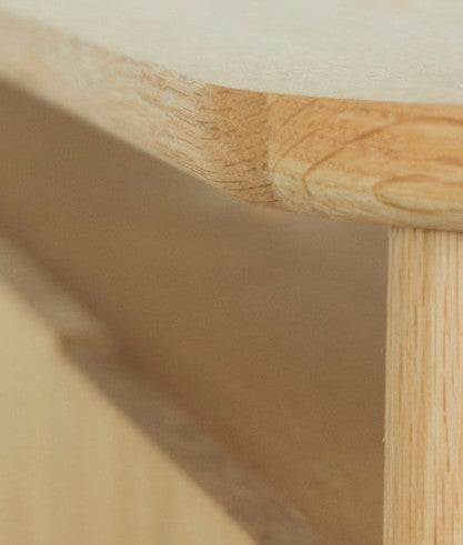 HOLD TV BENCH corner detail oak