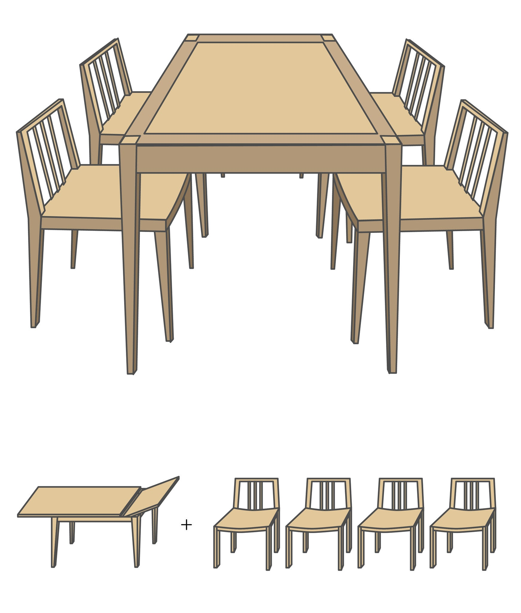 Cindy Long Table Set A (Table + Chair x 4)