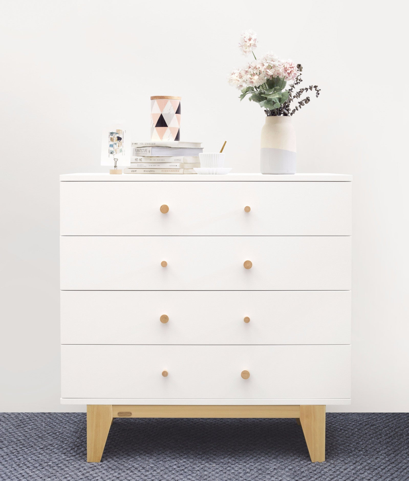 ISSAC 4 DRAWERS CABINET Front white