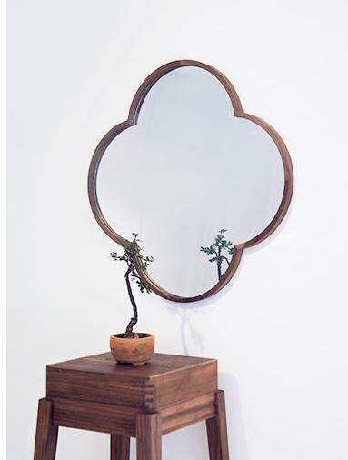 Floral Set (Floral Mirror + Floral Stand) ziinlife Walnut brown