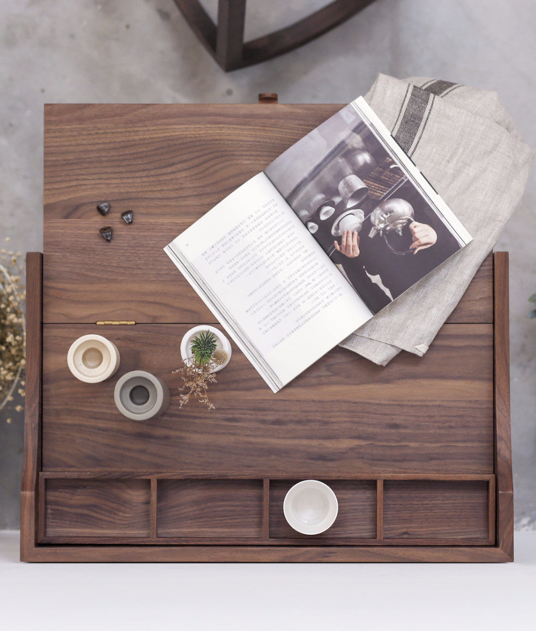 FOLD BEDSIDE CABINET Ziinlife Natural Walnut top