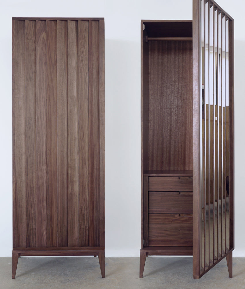 Wardrobe SET (Wide Wardrobe + Side Wardrobe) walnut