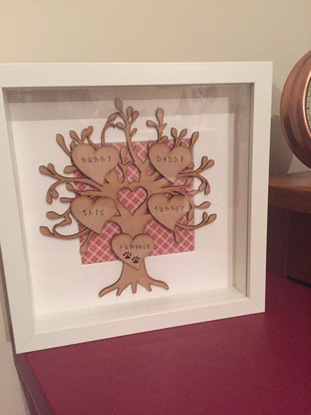 Family Tree Box Frame Personalised Wedding / Anniversary Box Frame