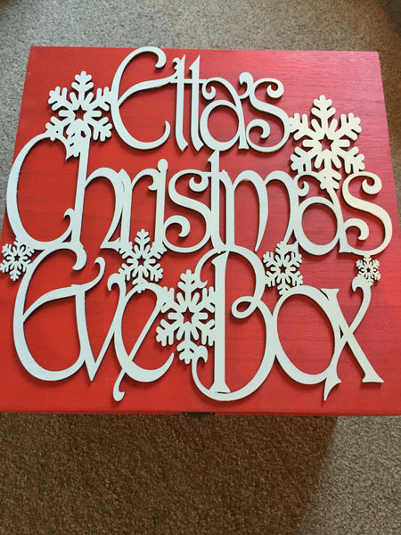 Christmas Eve Box with Laser Cut Personalised Topper - Hinged Lid with Metal Clasp