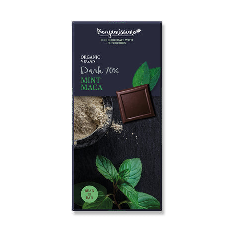 Benjamissimo Organic Vegan 70% Dark Chocolate With Mint and Maca|Benjamissimo有機純素70%黑朱古力 - 瑪卡薄荷味