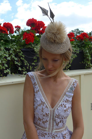 Martha Ward wearing Jess Collett Milliner at Royal Ascot