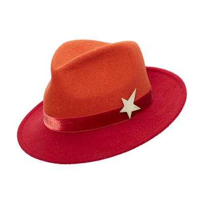 Morgane Two Tone Trilby - Brick Red & Orange