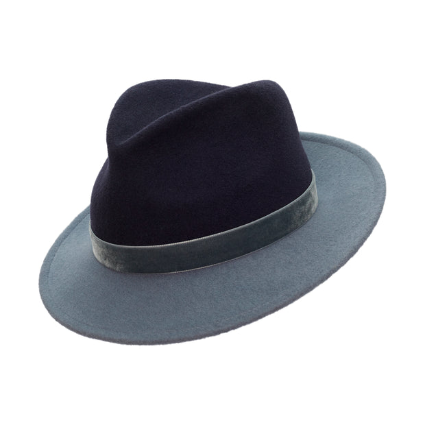 Morgane Two-Tone Trilby - Navy and Wedgewod Blue