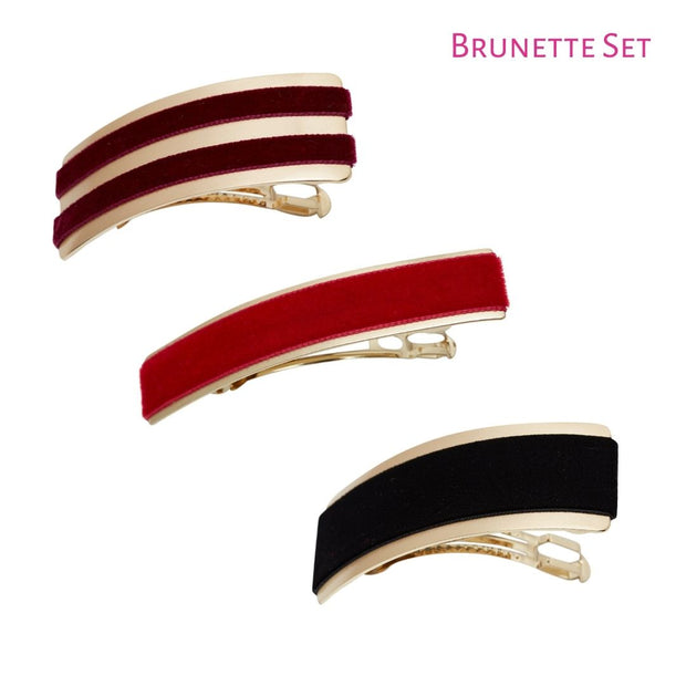 Velvet Barrette Hairclips - Pack of 3