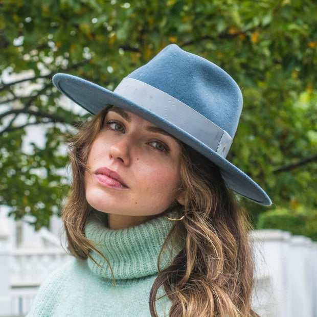 The Hometown Trilby - Petrol blue with plain band