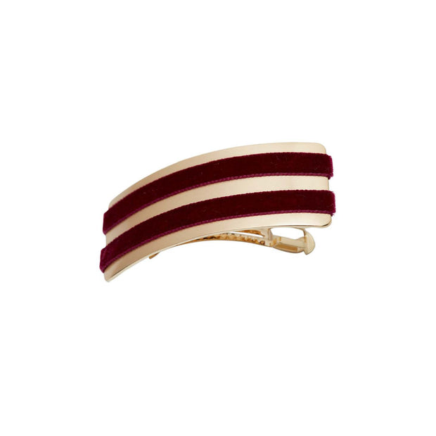 Double Velvet Barrette Hairclip - Wine