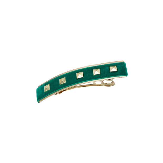 Skinny Studded Velvet Hairclip - Green