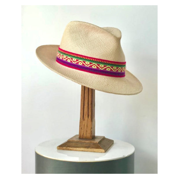 Natural Trilby with Pink Peruvian Band