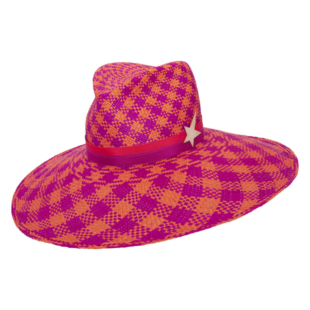 Toquilla Blaze Fedora - Pink and Orange Chequered