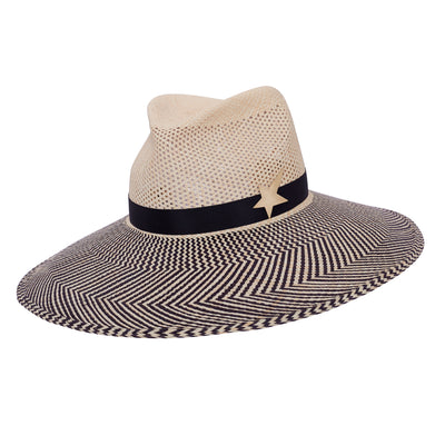 Toquilla Blaze Fedora - Black and Natural Zig zag