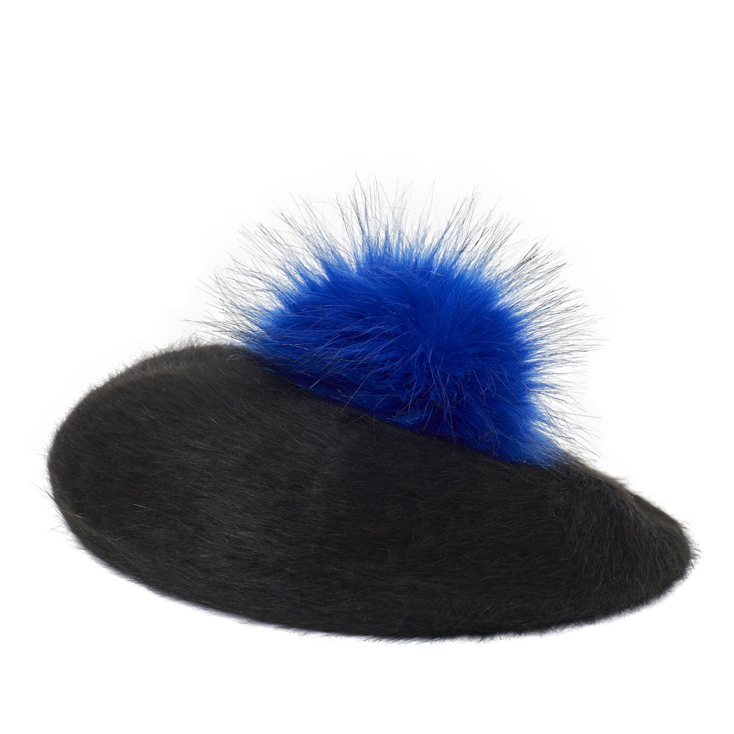 Pretty Things Beret - Black & Electric Blue