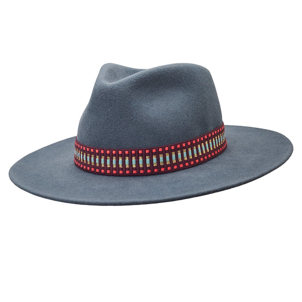The Hometown Trilby - Petrol blue with woven band