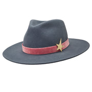 The Hometown Trilby - Petrol blue with velvet band