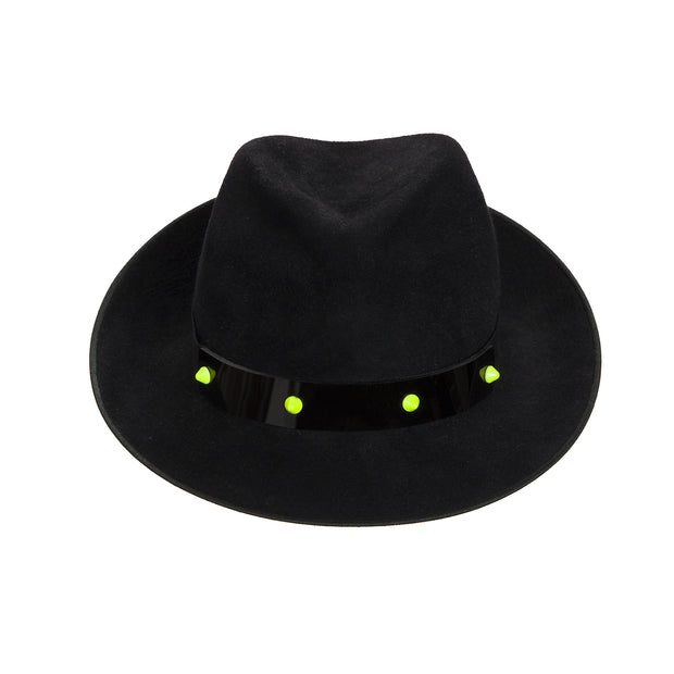 JCM PUNK Trilby. Black with perspex band and neon studs. Handmade in England.