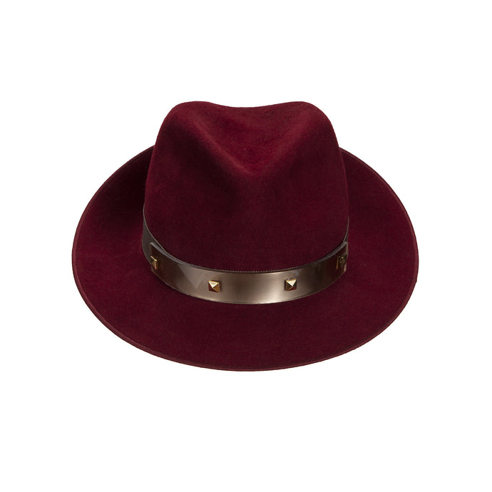 JCM PUNK Trilby. Dark red with gold perspex band and studs. Handmade in England.