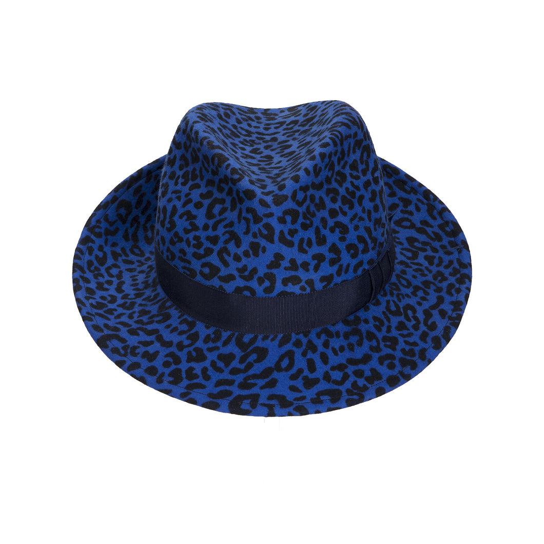 JCM PUNK Trilby. Blue leopard print with navy band. Handmade in England.